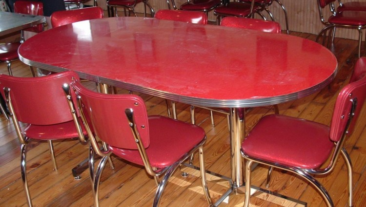 Red Retro Kitchen Table Chairs Photo 5