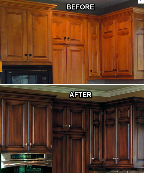 refinishing kitchen cabinets gel stain photo - 6