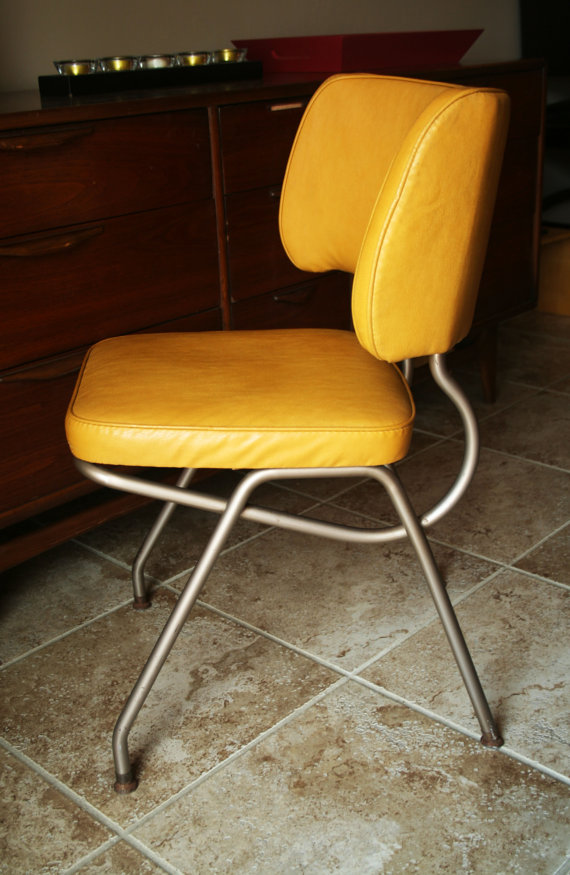 retro kitchen chairs yellow photo - 1