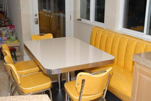 retro kitchen chairs yellow photo - 2