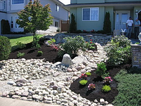 River rock garden bed Interior Exterior Doors