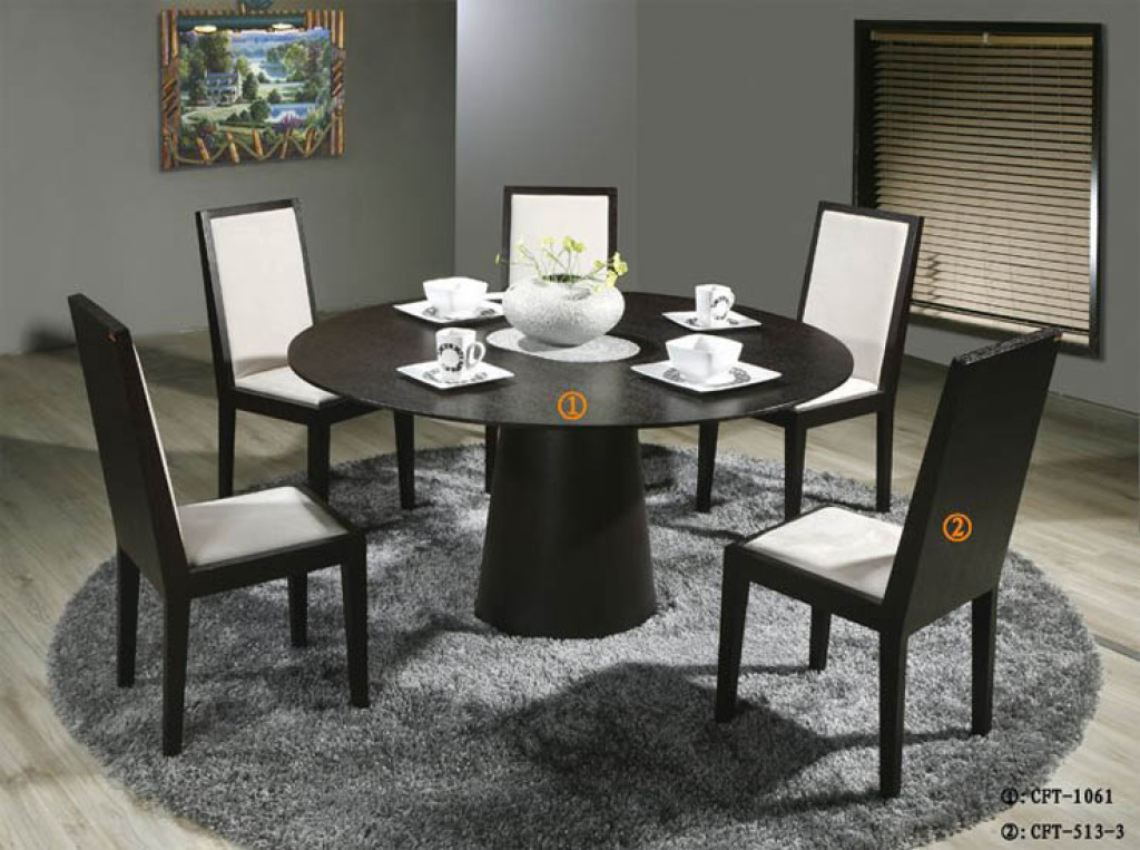 Round Dining Table Black Oak Photo   2