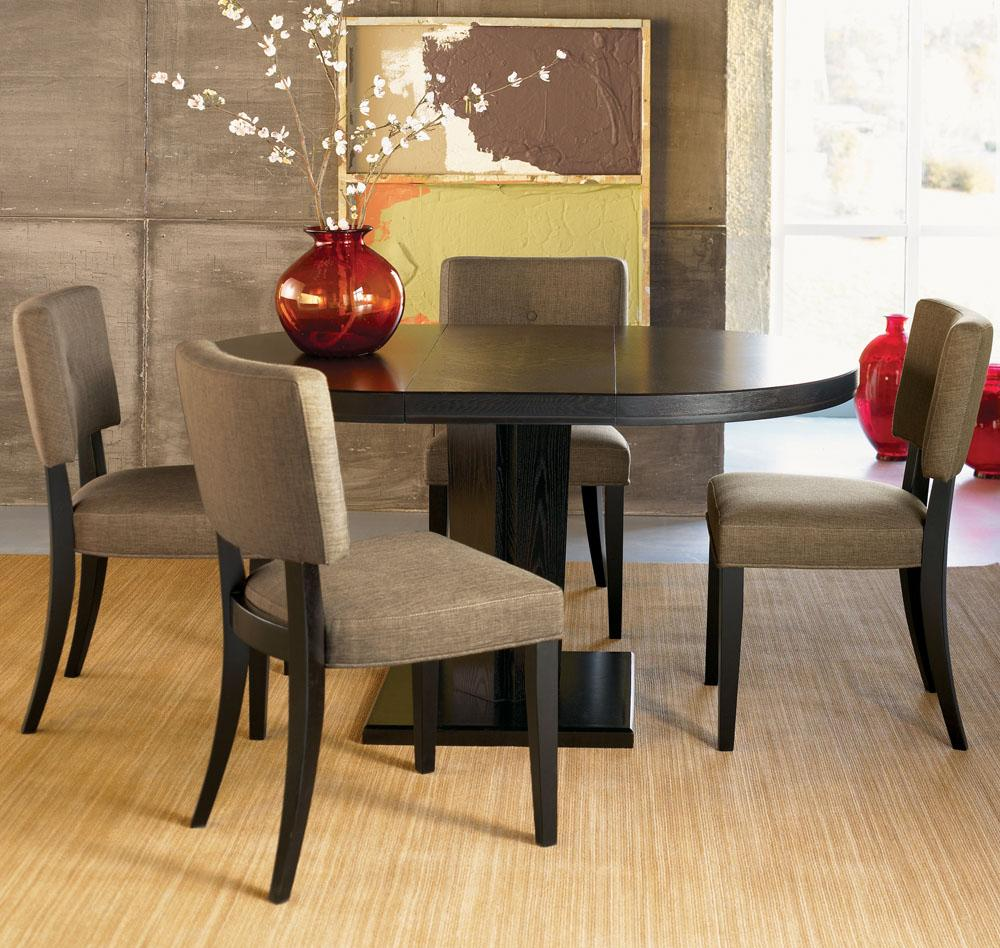 round dining table black oak photo - 4