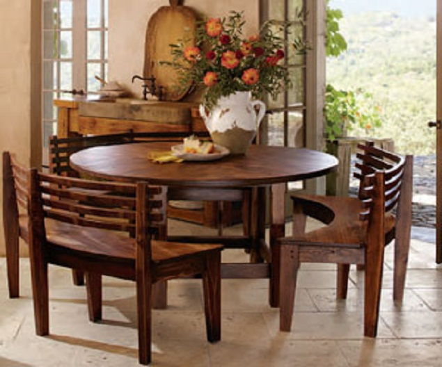 round dining tables bench seating photo - 1