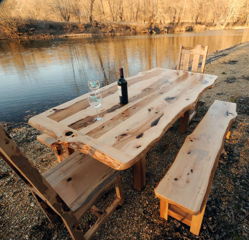 rustic dining set with bench photo - 2
