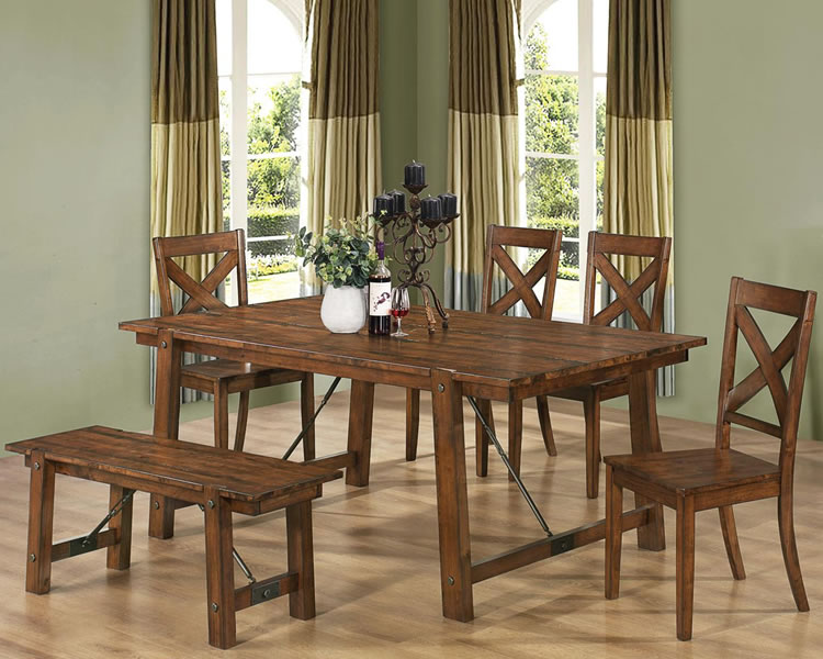 rustic dining set with bench photo - 3