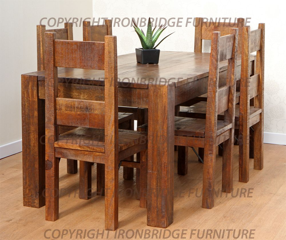 rustic dining table and chairs photo - 1