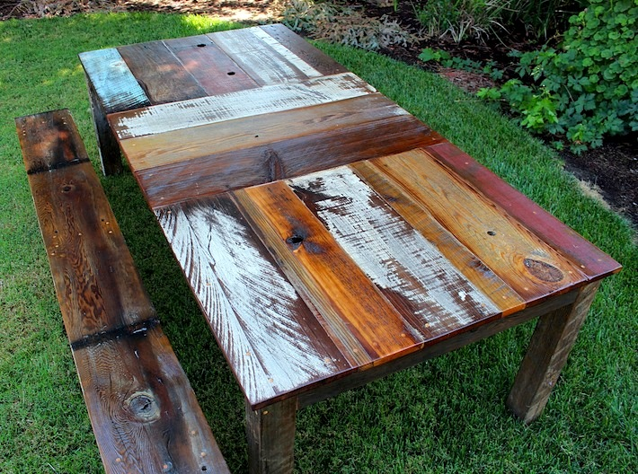 rustic dining table diy photo - 6