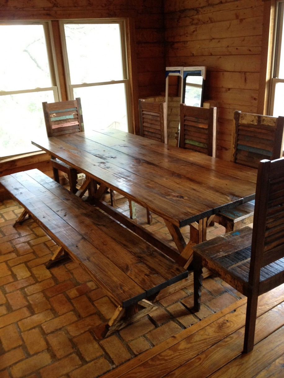 bench dining table. long narrow hardwood dining table with stools, Dining tables