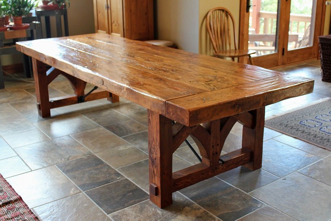 rustic dining table with metal base photo - 2