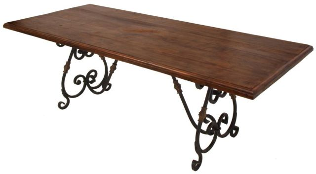 rustic dining table with metal base photo - 3