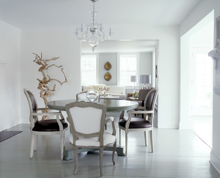 rustic dining table with metal base photo - 4