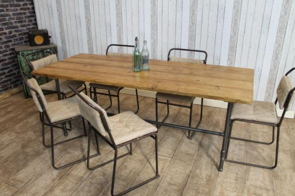 rustic dining table with metal base photo - 6