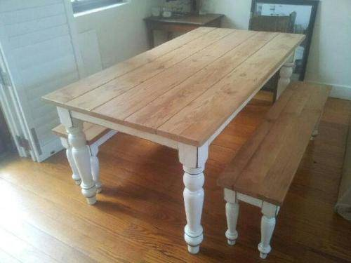 Rustic pine dining table bench | Interior & Exterior Doors