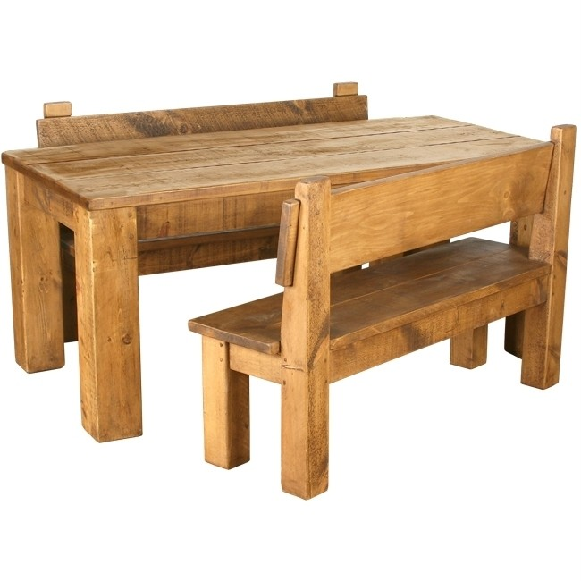 Rustic Pine Dining Table Bench Photo