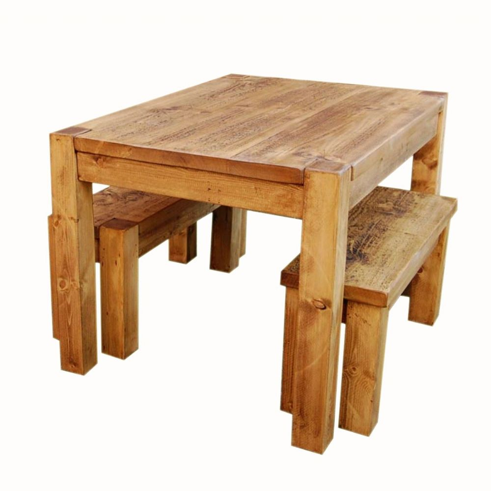 Captivating Rustic Pine Dining Table Bench Photo   6