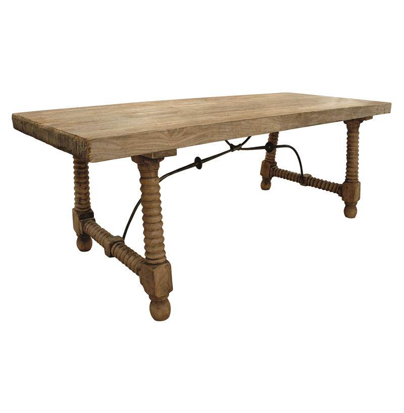 rustic wood dining table base photo - 2