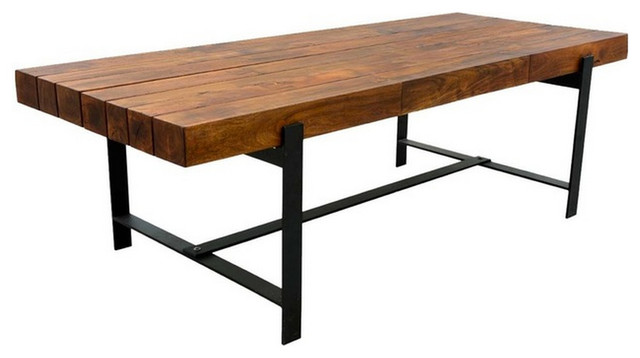 rustic wood dining table base photo - 4