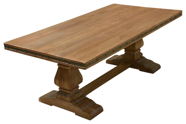 rustic wood dining table base photo - 6