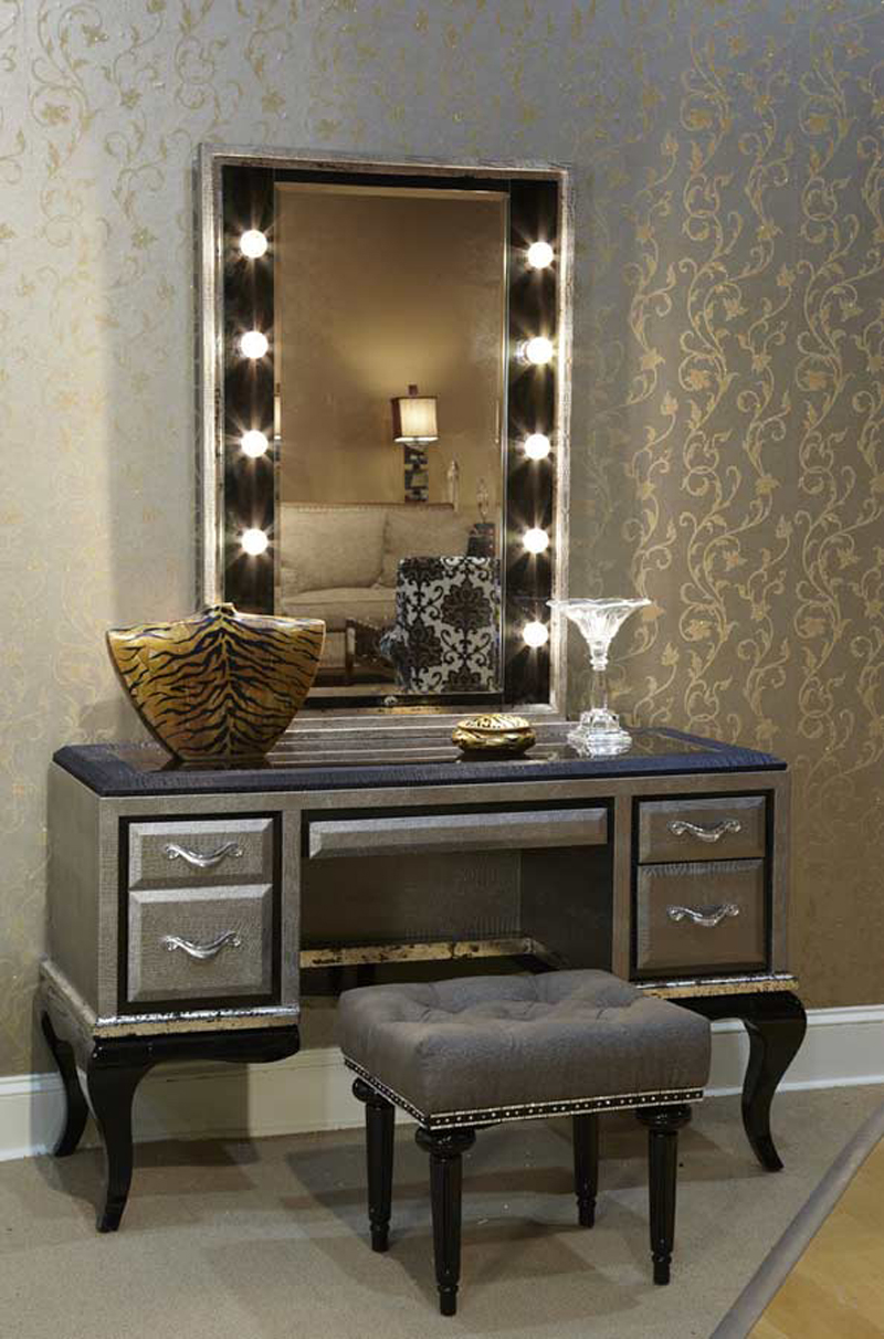 silver bedroom vanity sets photo - 2
