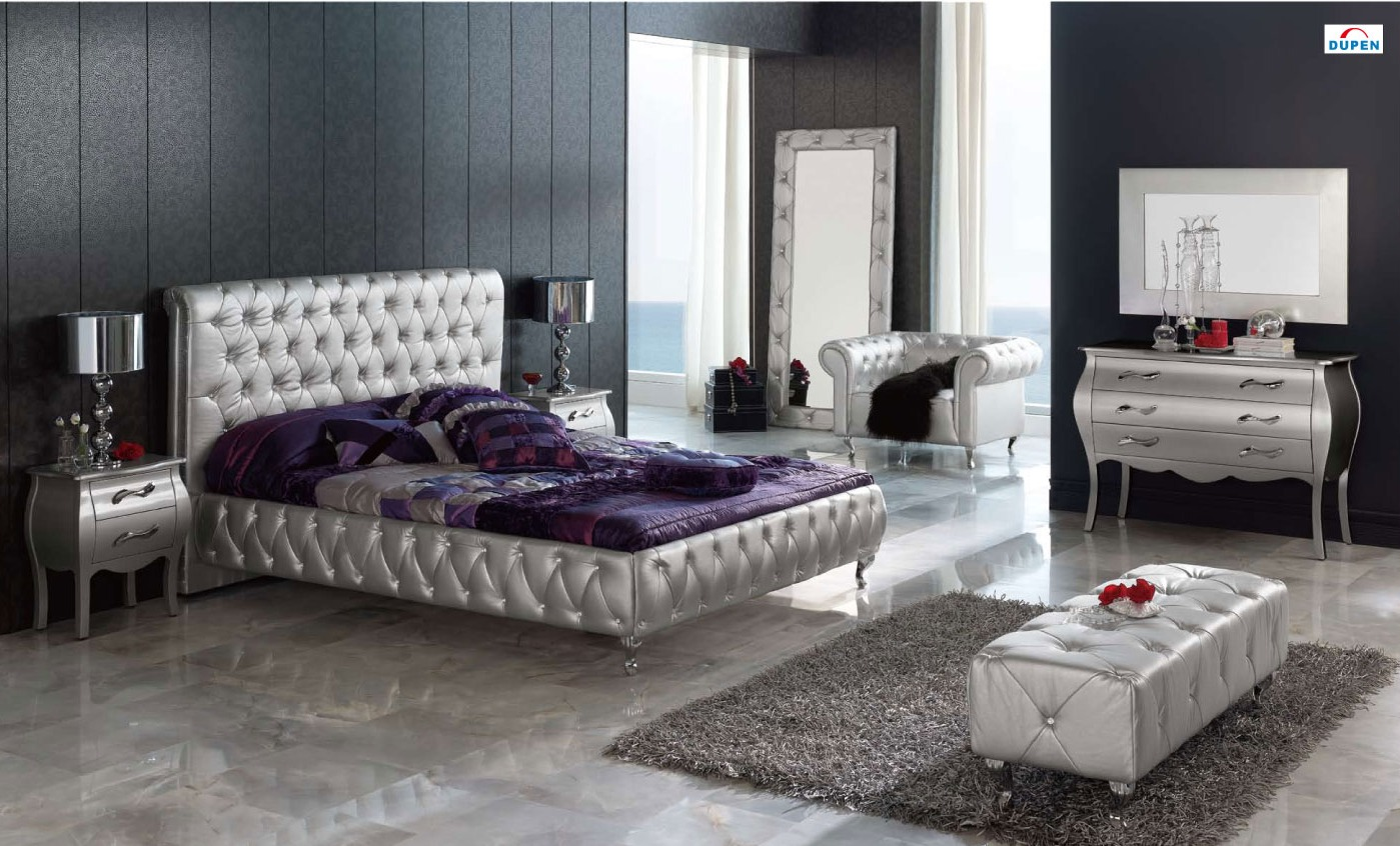 silver mirror bedroom set photo - 1