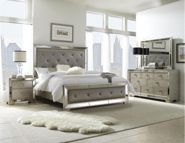 silver mirror bedroom set photo - 3
