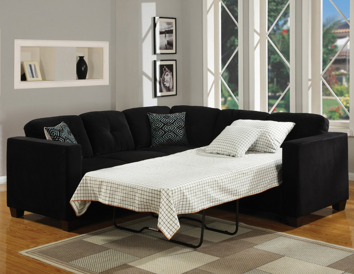 small sectional sofa black photo - 5