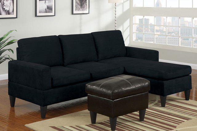 small sectional sofa black photo - 6