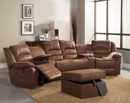 small sectional sofa with recliner photo - 1