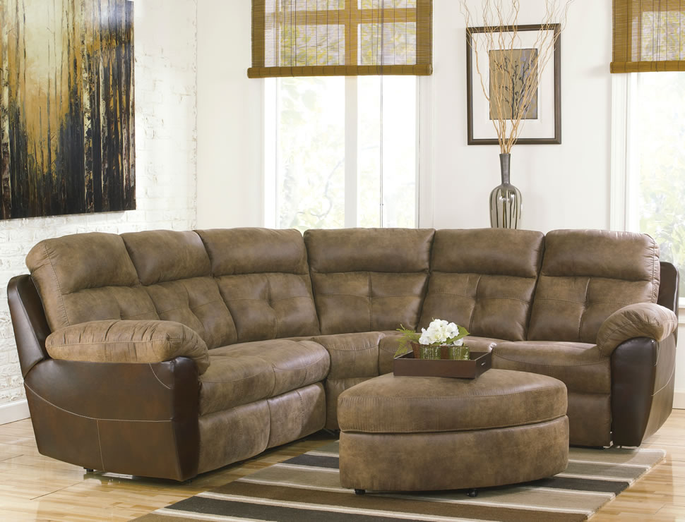 small sectional sofa with recliner photo - 6