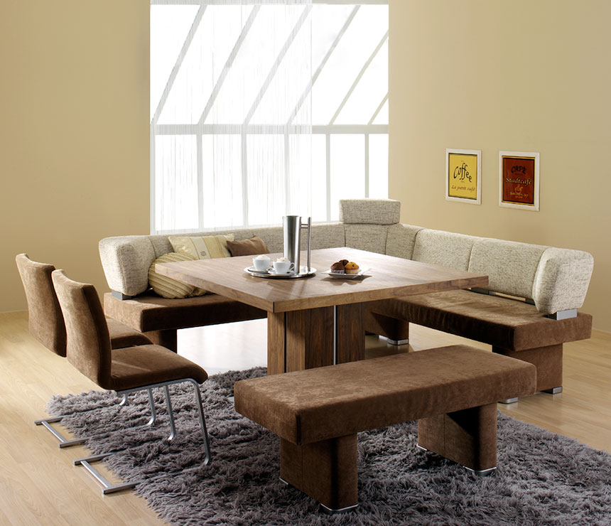 square dining table with bench photo - 1
