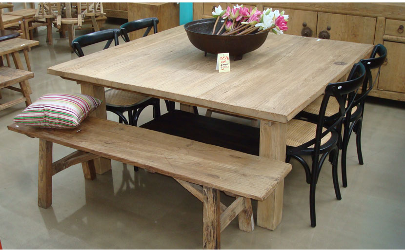 square dining table with bench photo - 2