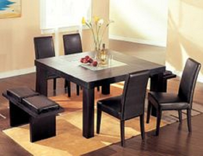 square dining table with bench photo - 3