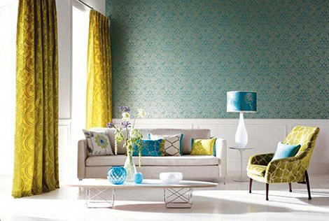 teal wallpaper interior design photo - 5
