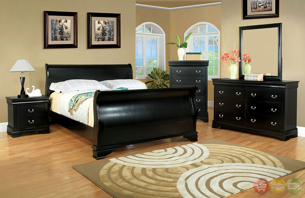 traditional black bedroom set photo - 2