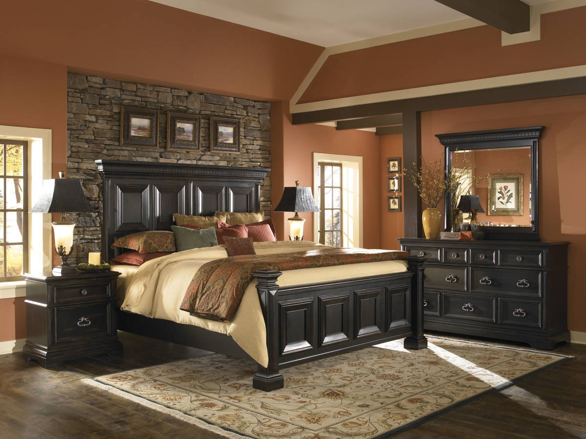 traditional black bedroom set photo - 4