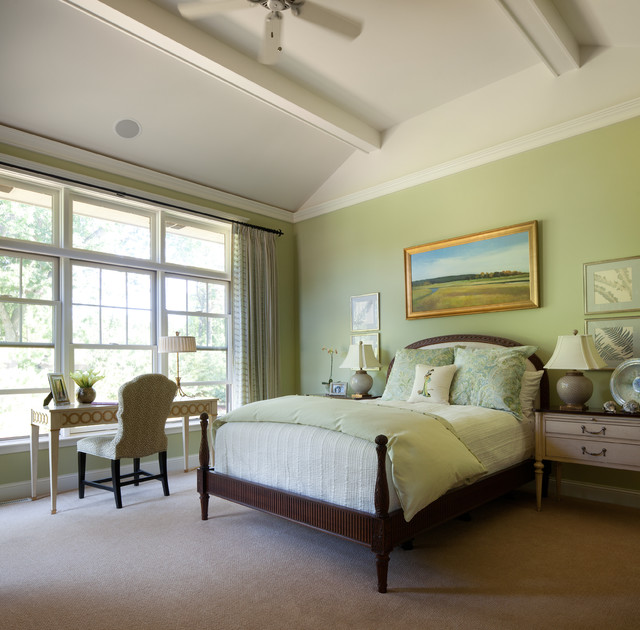 traditional green bedroom photo - 6