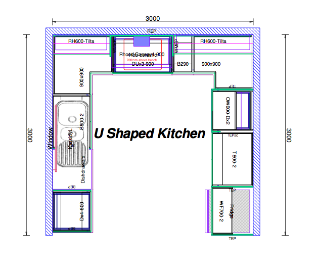 Kitchen Plans With Dimensions: TOP 20 U Shaped Kitchen House Plans 2018