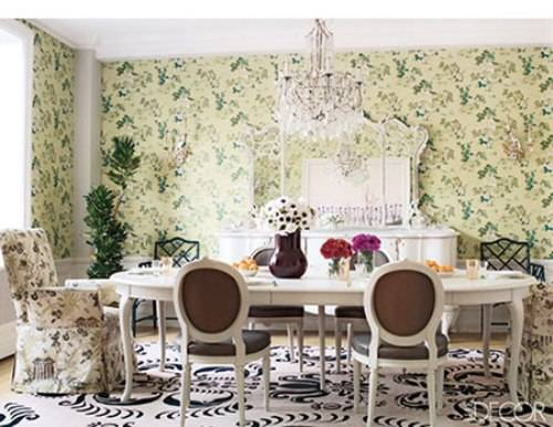 Vintage dining room wallpaper Interior Exterior Doors