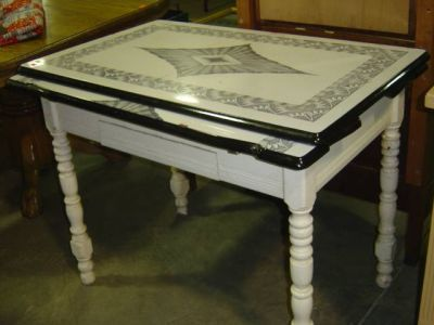 vintage kitchen table with enamel top photo - 1