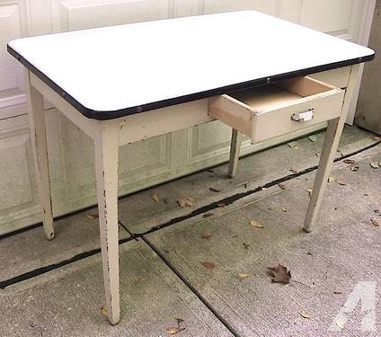 vintage kitchen table with enamel top photo - 2