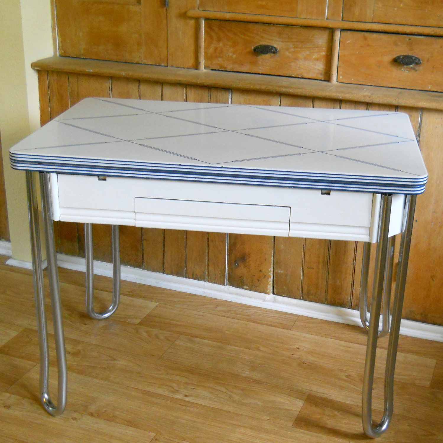 vintage kitchen table with enamel top photo - 5