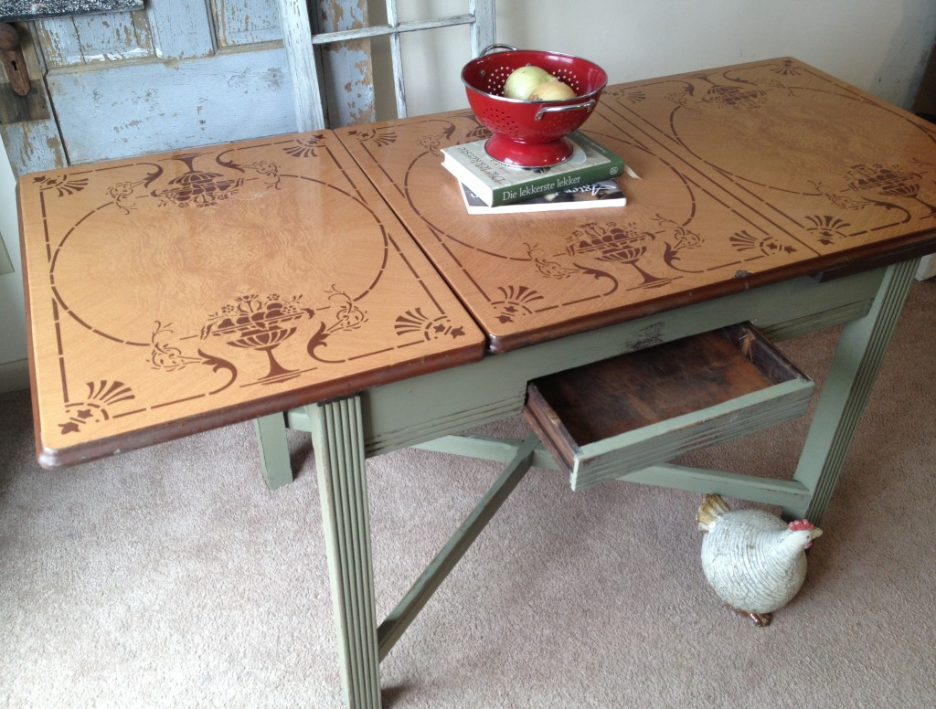 vintage kitchen table with enamel top photo - 6