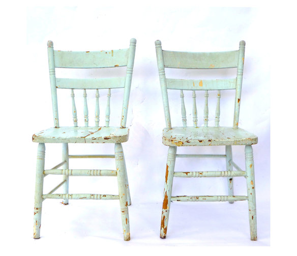 vintage kitchen wood chairs photo - 2