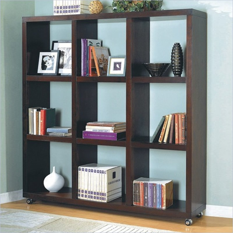 wall divider bookcase photo - 2