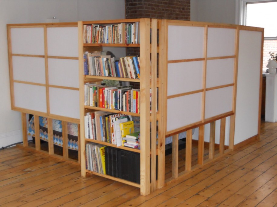 wall divider bookshelf photo - 4