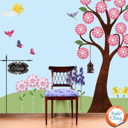 wall flower stickers for kids photo - 6