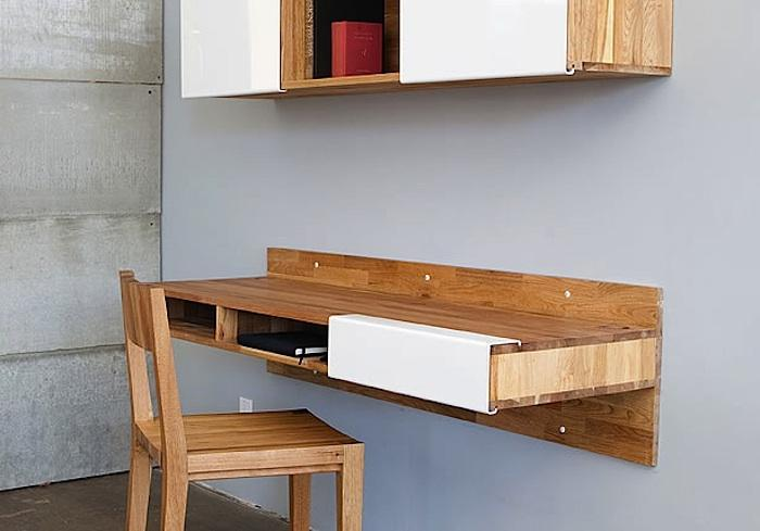 Wall mounted desk shelf interior & exterior doors.