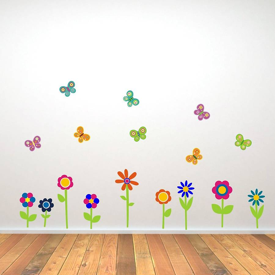 wall stickers flowers butterflies photo - 1