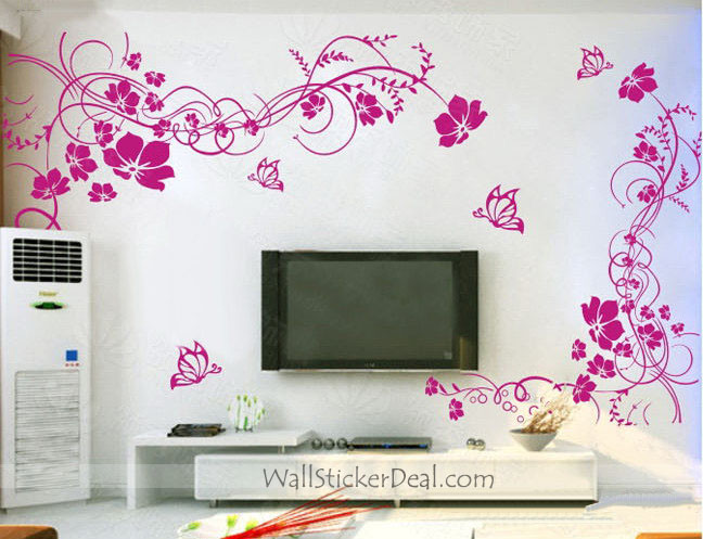 wall stickers flowers butterflies photo - 2